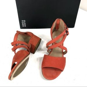 New Eileen Fisher Orange Sandals size 5.5 ( #box)